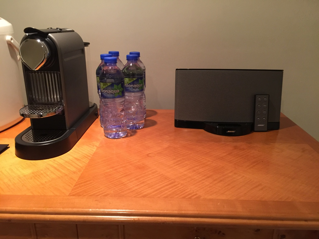 Stereo, Coffee Maker, Water