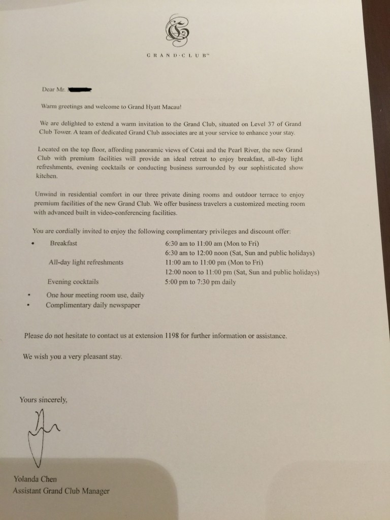 Grand Club Letter