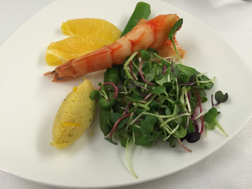 Roasted King Prawn with Couscous, and Baby Leaves, Asparagus