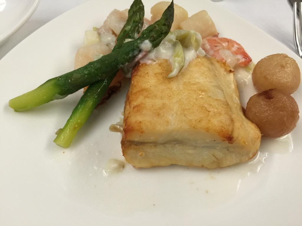 Pan Fried Halibut with Seafood Cream Sauce