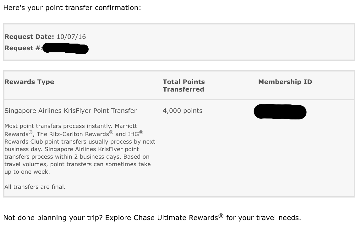 transferring ultimate rewards points to singapore airlines the chase singapore transfer request